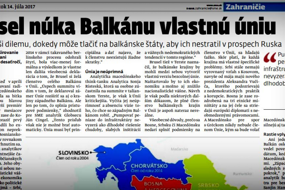 Sonja Risteska for the Slovak daily newspaper SME on the EU integration of Western Balkans and the Summit in Trieste